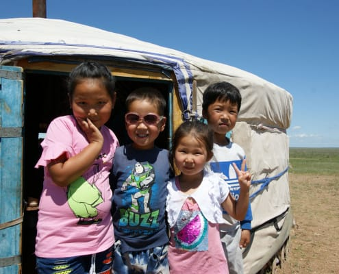 Children in Mongolian Steppe