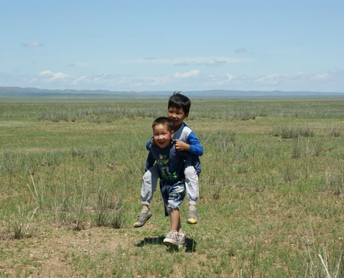 Children Playing in Mongolian Steppe