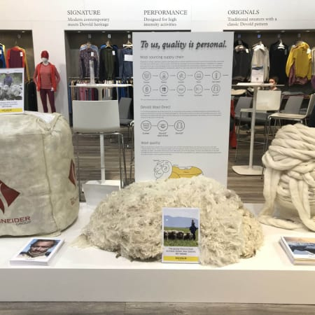 Devold Stand at ISPO 2019 with Schneider Wool Bale