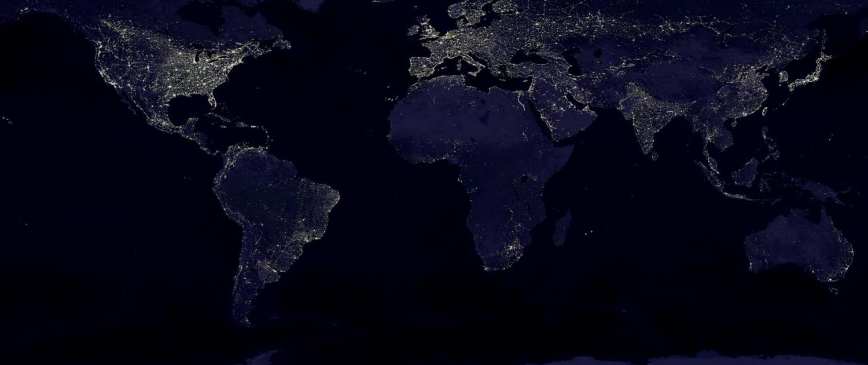 world map by night